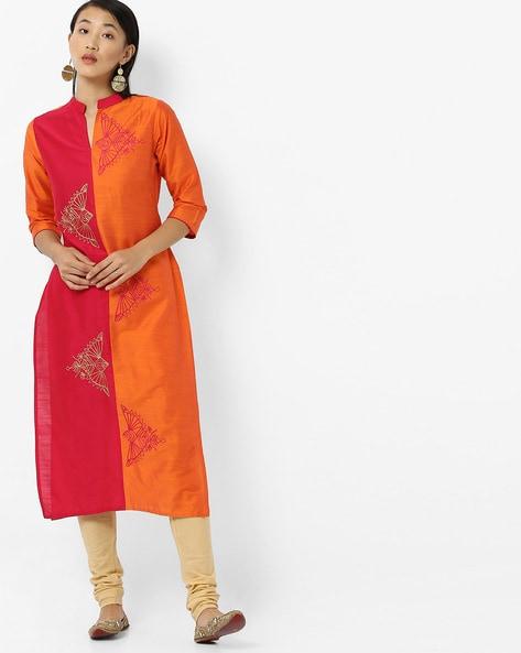 Colourblock Embroidered Straight Kurta With Mandarin Collar By Breya ( Orange )