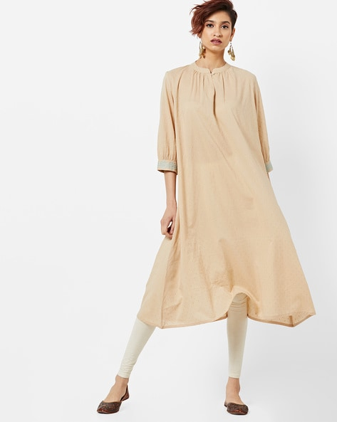 Boxy Straight Kurta With Embroidery By AJIO ( Offwhite )