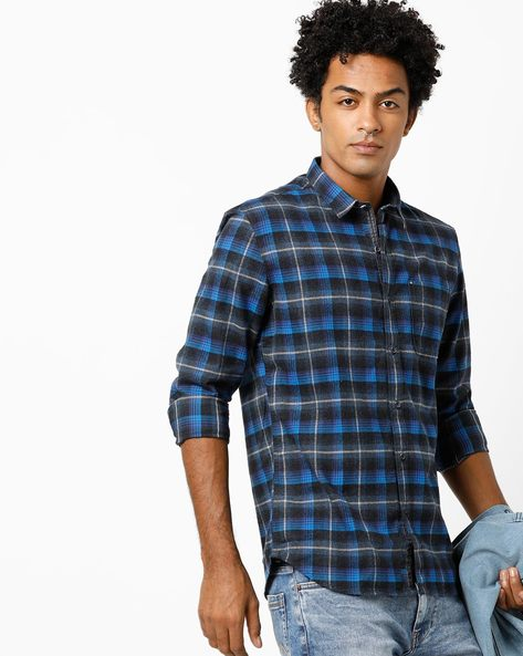 Checked Shirt With Patch Pocket By NUMERO UNO ( Navy ) - 460240518001