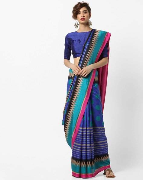 Malbari Silk Saree With Contrast Border By Florence ( Multi )