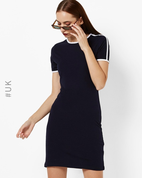Bodycon Dress With Contrast Striped Panels By BRAVE SOUL ( Navyblue )