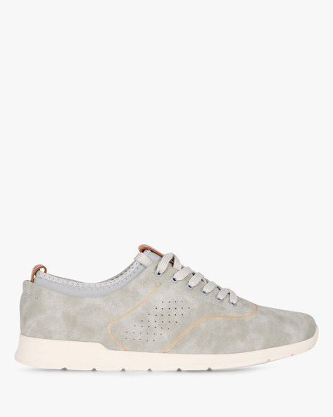 Low-Top Lace-Up Sneakers With Perforations By AJIO ( Grey )