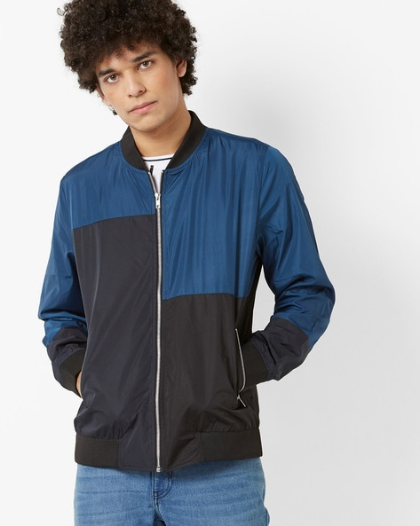 Colourblock Ooutdoor Jacket With Front Zipper By AJIO ( Blue )
