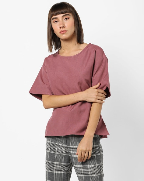 Top With Flared Drop-Shoulder Sleeves By Fame Forever By Lifestyle ( Mauve )