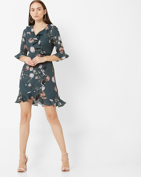 Floral Print Wrap Dress With Ruffles By FABALLEY ( Green )