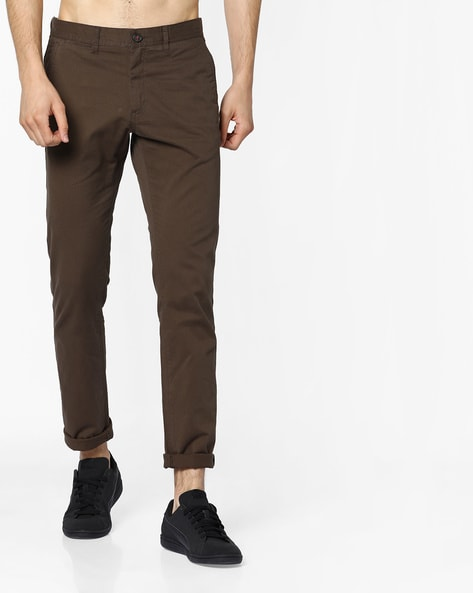 8cf277364 Buy Olive Brown Trousers & Pants for Men by NETPLAY Online | Ajio.com