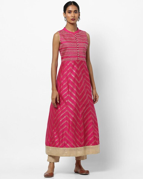 e008d610231a0d AVAASA MIX N' MATCH Pink A-line Foil Print Sleeveless Kurta with Mandarin  Collar