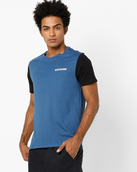 Crew-Neck T-shirt With Contrast Sleeves By AJIO ( Navy )