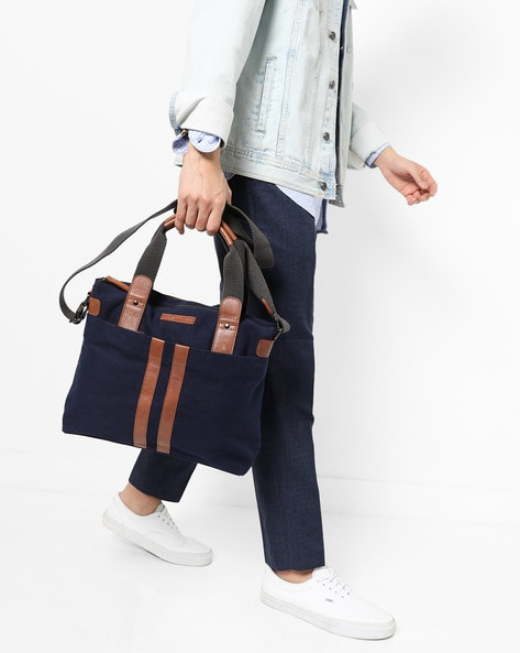 Panelled Messenger Bag By JUSTANNED ( Blue )