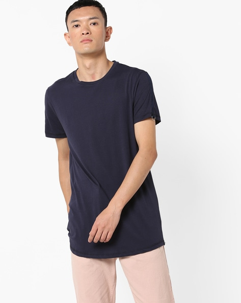 Crew-Neck T-shirt With Short Sleeves By AJIO ( Navy )