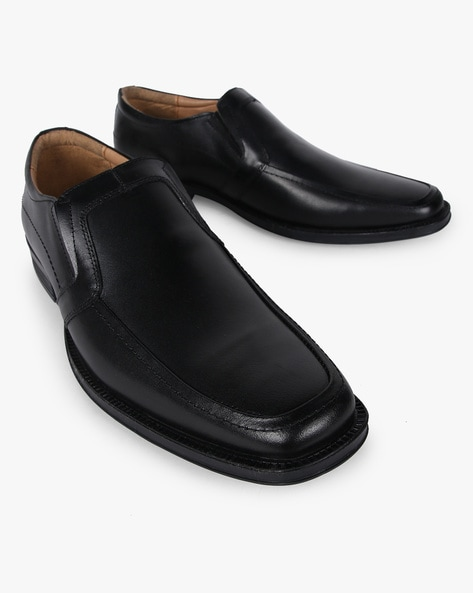 Leather Slip-On Formal Shoes By NOBLE CURVE ( Black )