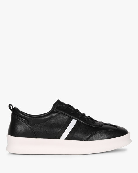 Low-Top Sneakers With Contrast Taping By AJIO ( Black )