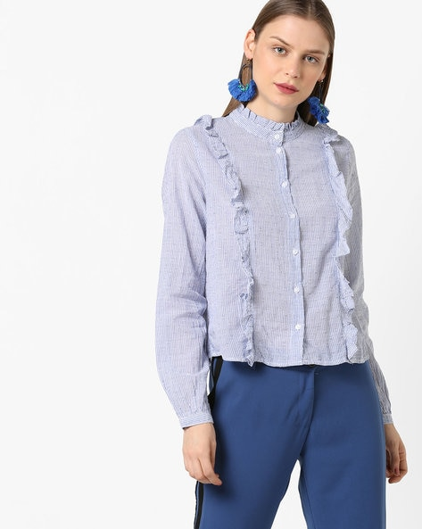 Striped Shirt With Ruffled Trims By Only ( Lightblue )