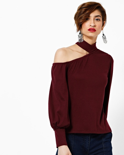 One-Shoulder Top With Choker Neckline By Femella ( Maroon )