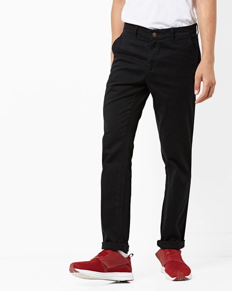 Mid-Rise Slim Fit Flat-Front Chino Trousers By AJIO ( Black )