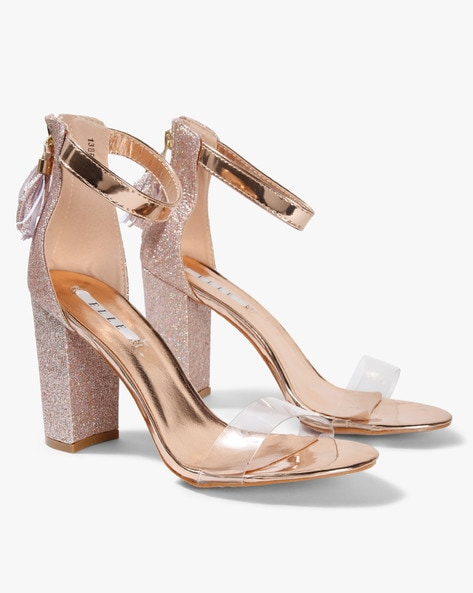 281eb8729ca ELLE Champagne Chunky Heels Shimmery Chunky Heeled Sandals with Ankle-Strap