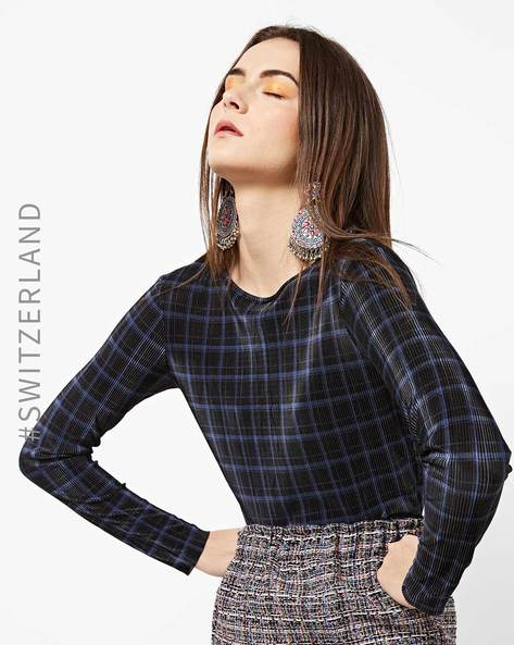 Textured Checked Top With Round-Neck By TALLY WEiJL ( Multi )