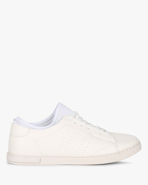 Low-Top Lace-Up Panelled Sneakers By AJIO ( White )