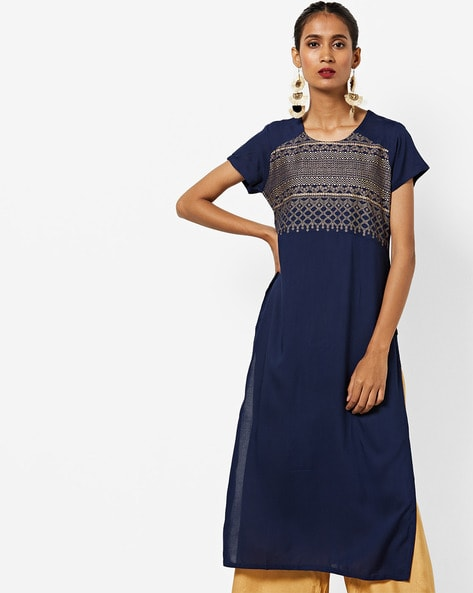 Printed Round-Neck Straight Kurta By AVAASA MIX N' MATCH ( Navy )