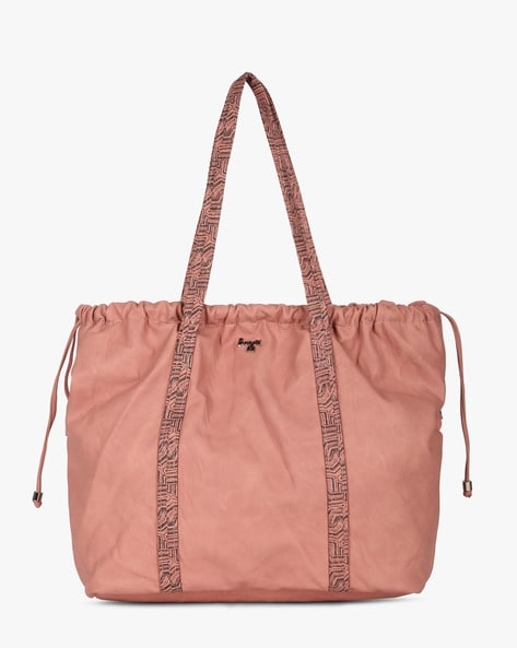 L Straw Y G Z Handbag With Printed Straps By BAGGIT ( Rose )