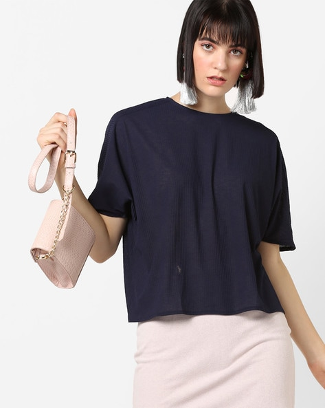 Self-Striped Boxy Top With Extended Sleeves By AJIO ( Navy )