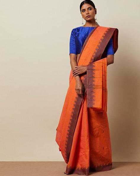 Kanchi Varada Cotton Saree With Woven Border By Indie Picks ( Pink )