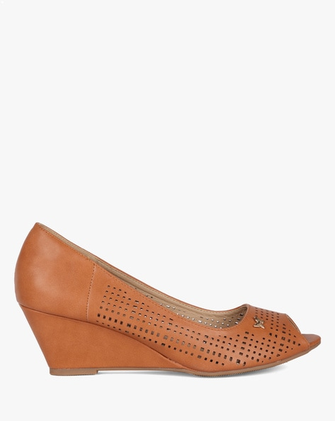 Peep-Toe Wedges With Cutouts By Ginger By Lifestyle ( Tan )