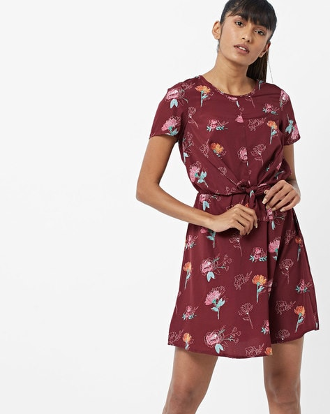 Floral Print Shift Dress With Waist Tie-Up By Oxolloxo ( Wine )