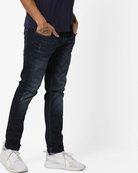 Mid-Wash Skinny Jeans With Distressing By Lee ( Blue )