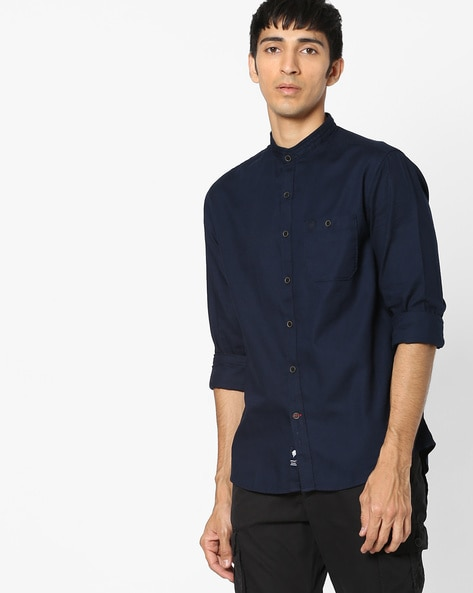 NETPLAY Navy Blue Classic Cotton Shirt with Band Collar