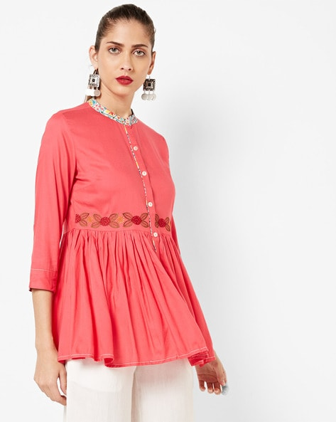 Embroidered Flared Tunic With Printed Collar By AJIO ( Pink )