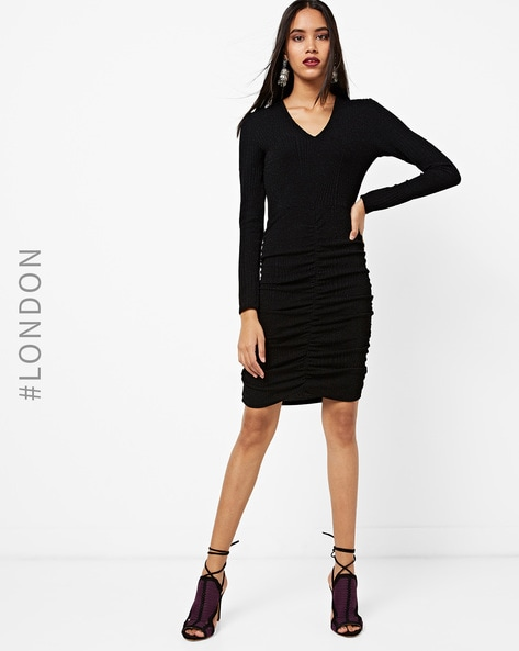 Textured Bodycon Dress With Ruching By MELA LONDON ( Black )
