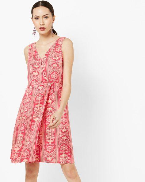 Sleeveless Printed Wrap Dress By AJIO ( Pink )