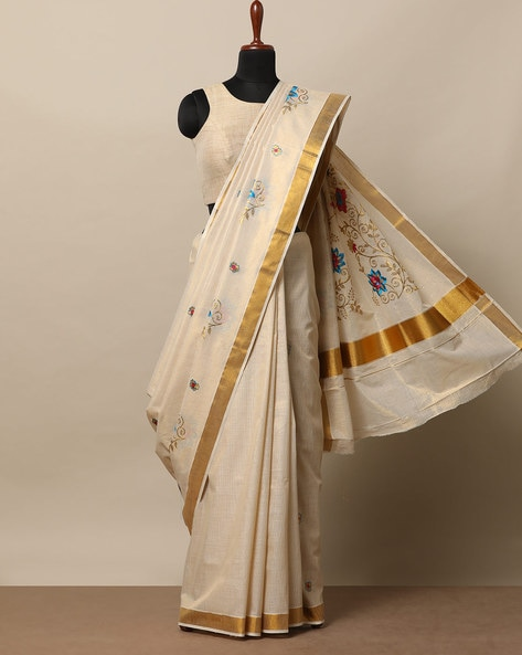 Anand Kerala Kasavu Cotton Tissue Saree With Embroidery By Indie Picks ( Beige ) - 460275993001