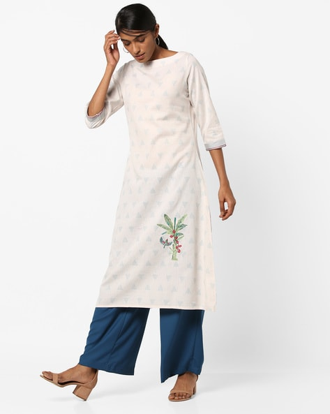 Geometric Print Kurta With Embroidery By AJIO ( Offwhite )