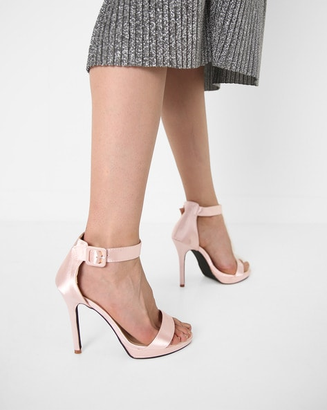 Ankle-Strap Stilettos With Buckle Closure By MFT Couture ( Mauve )