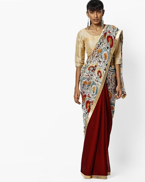 Printed Saree With Contrast Border By Vastrangi ( Maroon )