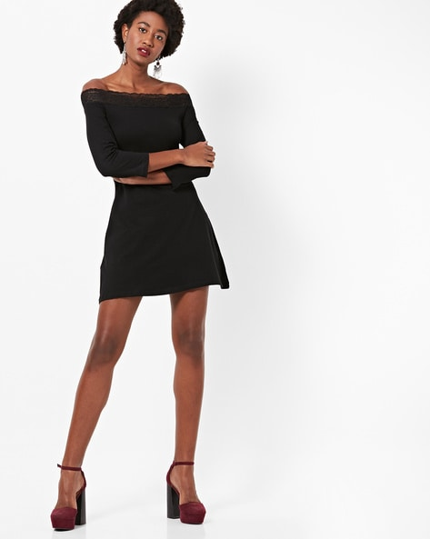Off-Shoulder A-line Dress With Lace Overlay By FABALLEY ( Black )