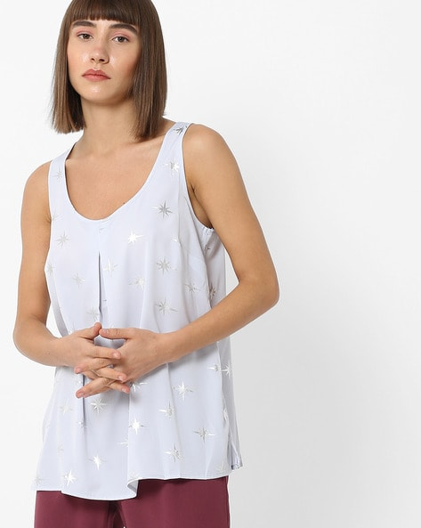 Printed Sleeveless Top By Oxolloxo ( Offwhite )