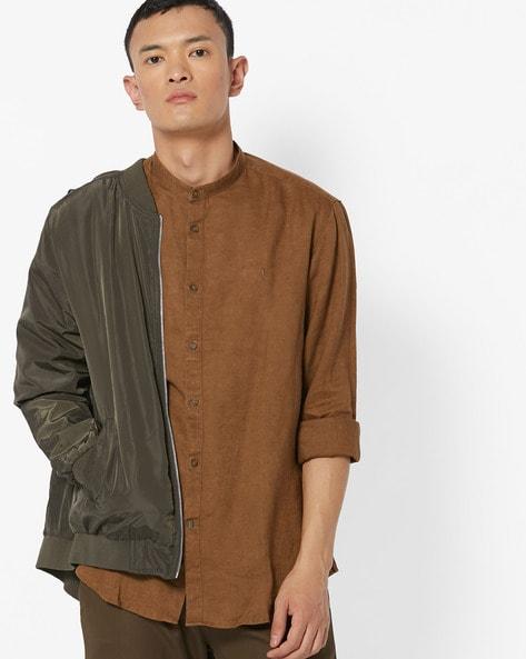 Slim Fit Linen Shirt With Mandarin Collar By INDIAN TERRAIN ( Khaki )