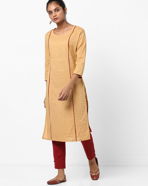 Straight Kurta With Contrast Piping By Jaipur Kurti ( Beige )