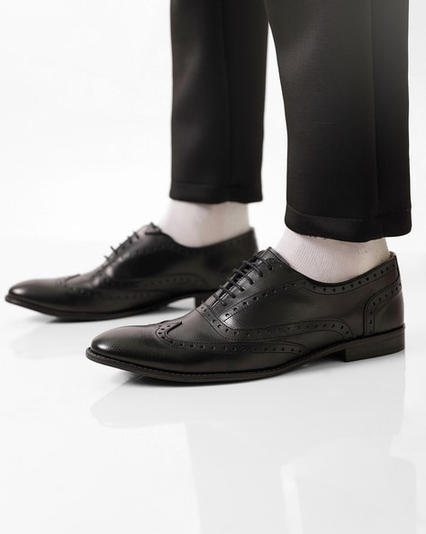 Semi-Brogue Oxford Shoes By Knotty Derby ( Black )