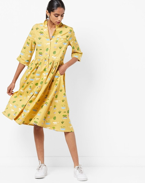 Printed A-line Midi Dress By AJIO ( Yellow )