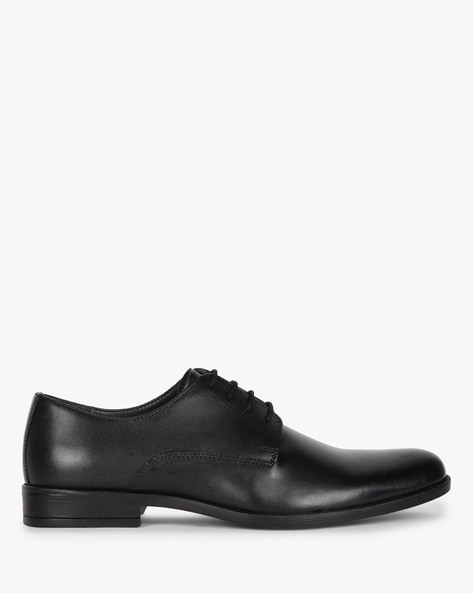 Textured Genuine Leather Derby Shoes By Hats Off Accessories ( Black )