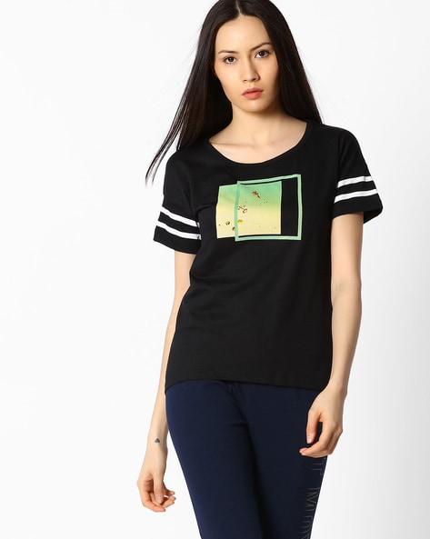 Graphic Print T-shirt With Drop-Shoulder Sleeves By Teamspirit ( Black )