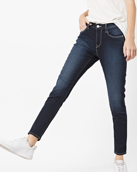 Mid-Rise Lightly Washed Skinny Fit Jeans By FLYING MACHINE ( Blue ) - 460220230002