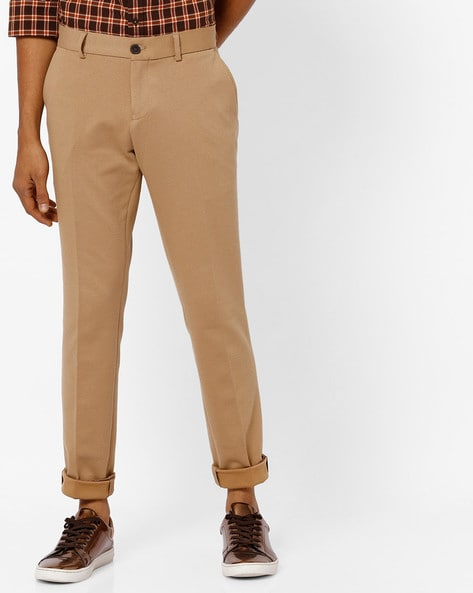 Mid-Rise Slim Fit Flat-Front Trousers By INDIAN TERRAIN ( Beige )