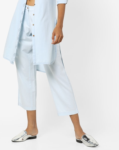 Pleated Cropped Denim Pants By AJIO ( Lightblue )