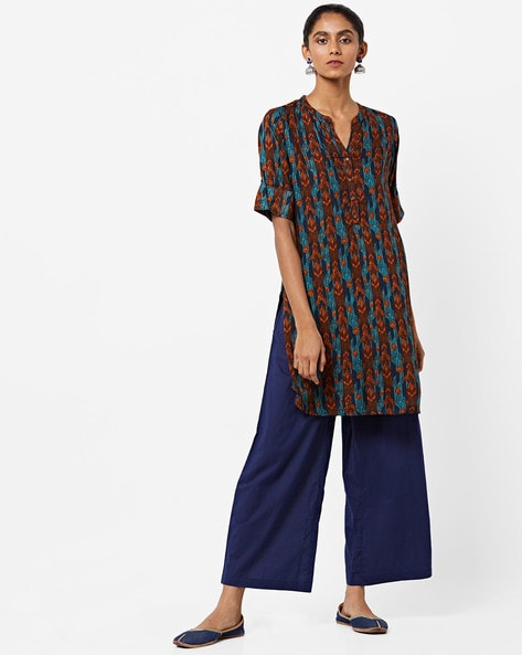 Abstract Print Straight Tunic With Mandarin Collar By Global Desi ( Teal )