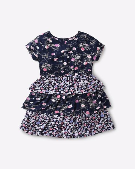 d0ddef908f KG FRENDZ Navy Blue Fit and Flare Floral Print Tiered Fit & Flare Dress